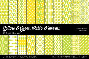 Yellow & Green Retro Digital Papers