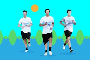 A vector guy running in the park