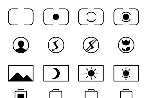 Camera viewfinder display icon set