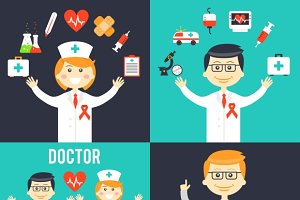 Doctors with medical icons
