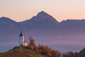 Church on the hill at sunrise