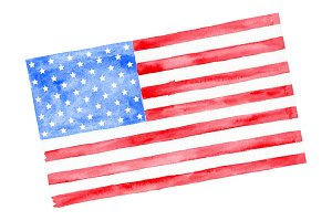 Watercolor America Flag