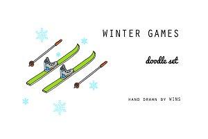 Winter games. Doodle set