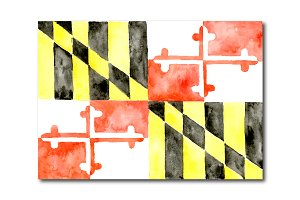 Watercolor Maryland Flag