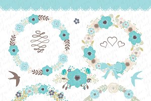 Vector flower wreath cliparts