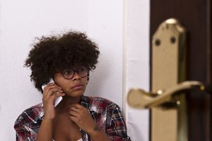 colored girl talking on the phone