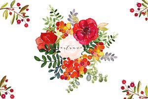 Autumn. Watercolor clip art.