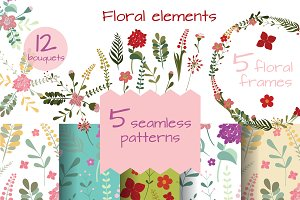 Set of floral elements for decor