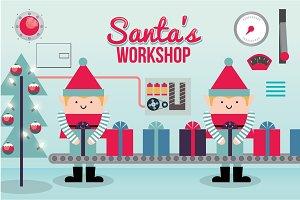 santa's workshop vector