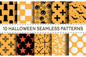 Set of 10 halloween seamless pattern