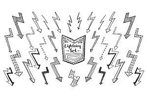 Set of hand drawn lightning on white