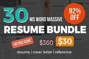 30 massive Word resume pack bundle
