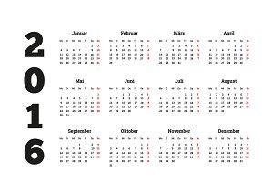 Calendar on 2016 year on german