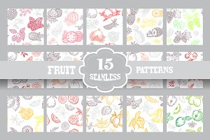 15 Fruits Seamless Patterns