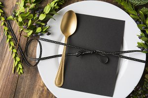 menu place setting with empty card a