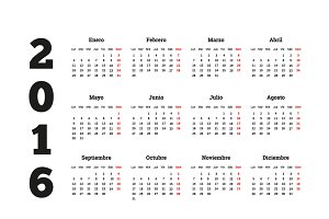 Calendar on 2016 year on Spanish