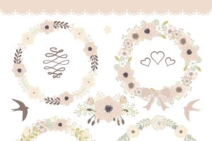 Vector floral wreath clipart