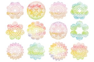 Watercolor doilies collection