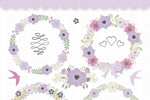 Vector flower wreath clipart