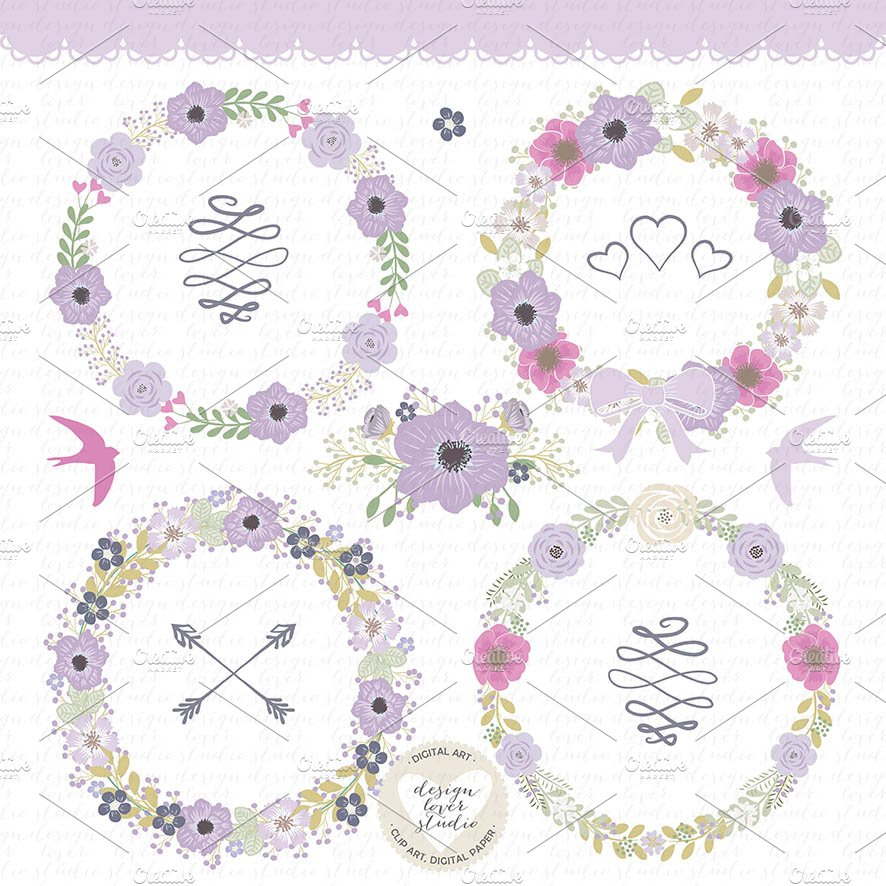 Vector Flower Wreath Clipart Illustrations Creative Market