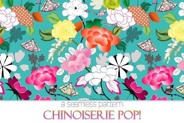 Chinoiserie POP! Seamless Pattern