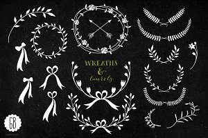 Wreaths laurels ribbons chalkboard
