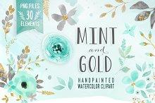 Mint & Gold -  flower clipart