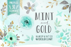 Mint & Gold -  flower clipart