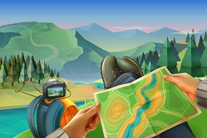 Traveler with a map