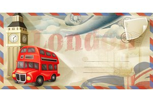 London vector postcard