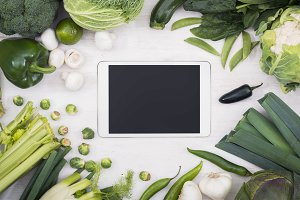 Vegetables tablet pc hero header