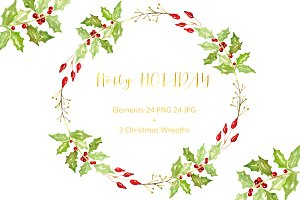 Holly Holiday. Watercolor Clipart.
