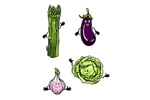 Cabbage, spinach, eggplant and garli