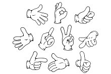 Cartoon hand gestures set