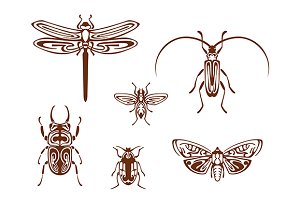 Insects in tribal ornamental style