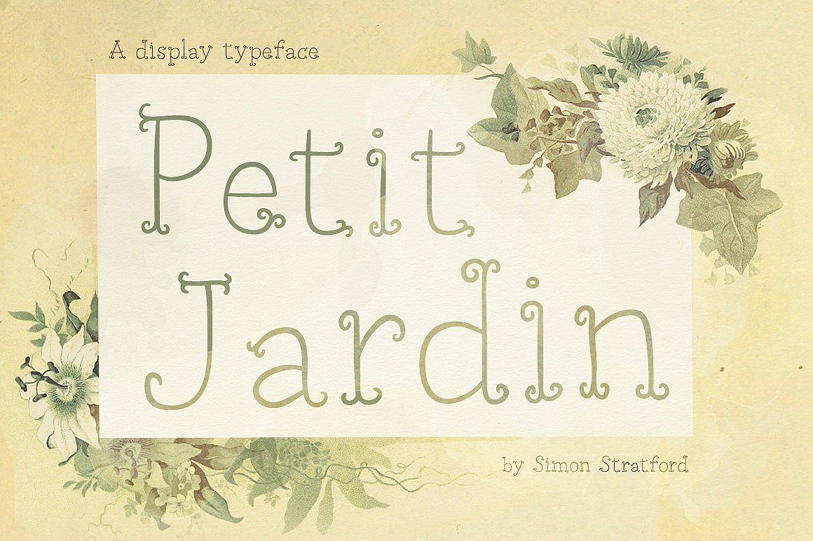 Petit jardin display fonts creative market for Cd market galeria jardin