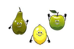 Green pear, apple and yellow lemon f