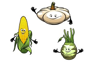 Pumpkin, corn and turnip cartoon veg
