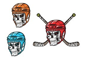 Skull with ice hockey amunition