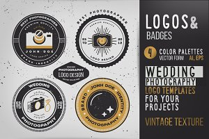 Vintage Wedding Photography Logo Set