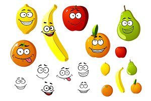 Appetizing fresh cartoon fruits