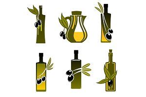 Bottles with olive oil
