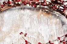 Christmas wreath & snowflakes