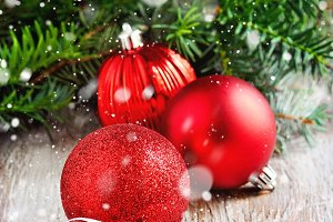 Christmas ornaments, red balls