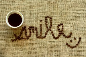 Smile word from coffee beans