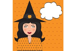 Pop Art Witch with copy space