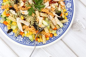Pasta salad with chicken and corn to