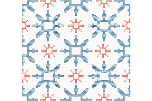 Knitted pattern with snowflakes