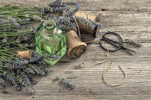 Lavender oil with fresh flowers