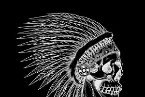 Vector skull of indian chief